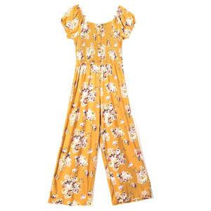 DEREK HEART Plus Size Smocked Floral Jumpsuit Gold